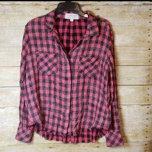 Cloth & Stone Buffalo Plaid Split Back Flannel